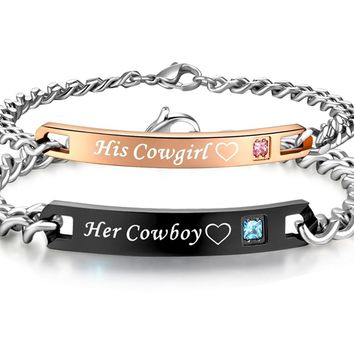 His & Hers Matching Set Titanium Stainless Steel His Cowgirl Her Cowboy Couple Bracelet in a Gift Box