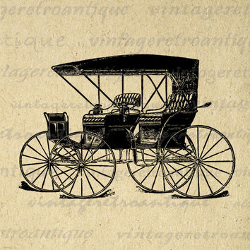 Antique Automobile Graphic Printable Download Wagon Carriage Digital Image Vintage Clip Art for Transfers etc HQ 300dpi No.1471