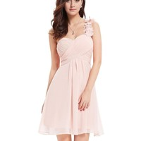 One Shoulder Ruffles Bridesmaid Dress
