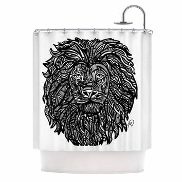 "Adriana De Leon ""The Leon"" Lion Illustration Shower Curtain"