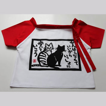 Cats Little Girl's Top, 3 to 5 years, japanese tenugui, japanese fabric dress, cat dress, cat fabric top