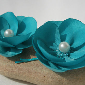 Two smoky blue flower daisy hair clip set by cushyadornments