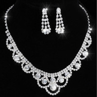 Earrings wedding necklace Bridal Bridesmaid Jewelry Sets wedding jewelry Inspired Crystal Tennis Statement Necklace Set
