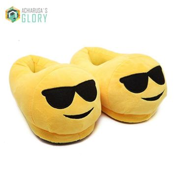 TAYUN 2016 Indoor Warm Emoji Slippers Winter Cotton Plush Slipper Emoji Shoes Smiley Emoticon Winter Soft Cartoon Shoes XF-721