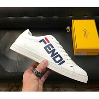 Fendi 2019 new style brand breathable casual low cut sports shoes white