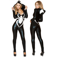 Spider Women Costume Black Zentai Suit Sexy Costumes Women Halloween 2016 Girl Hoodie Venom Spiderman Jumpsuit