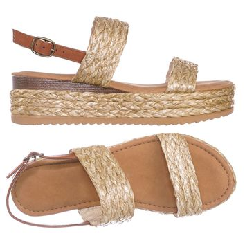 Motivate18 Raffia Espadrille Flatform Sandal - Women Woven Braided Open Toe Shoe