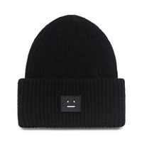 Smiley Face Womens Winter Knitted Beanie Unisex Ski Snowboard Skateboard Black Cuffed Skully Hat