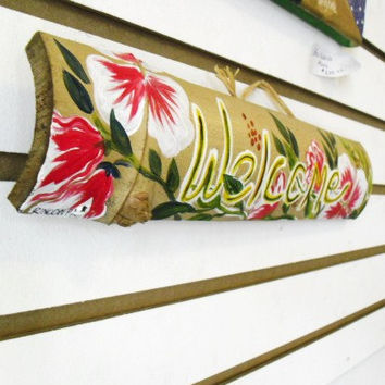 Custom Hand Painted House Sign -Welcome-  English- Tropical theme
