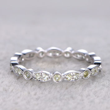 Peridot Wedding Ring 14k White Gold Antique Art Deco Full Eternity Band August Birthstone Ring