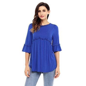 Chicloth Blue Babydoll Long Tunic Top