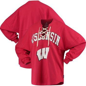Wisconsin Badgers Women's Lace-up Spirit Jersey Long Sleeve T-Shirt - Red