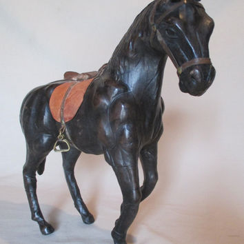 Horse Statue, Leather Covered, Vintage, Decorative, Black Horse, Equestrian Figurine