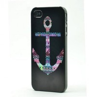 BLACK Snap On Hard Case IPHONE 4 4S Plastic Skin Cover - Mayan Aztec tribal Nautical Anchor navajo sailor rainbow rope