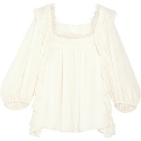 Chloé - Ruffled cotton and silk-blend blouse