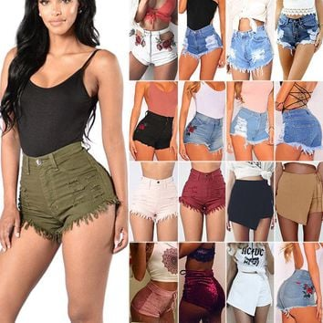 Women's Casual High Waisted Short Mini Jeans Denim Slim Beach Shorts Hot Pants