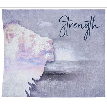 Lion Strength Tapestry Blue Distressed Tapestry Wall Hanging Meditation Yoga Grunge Hippie