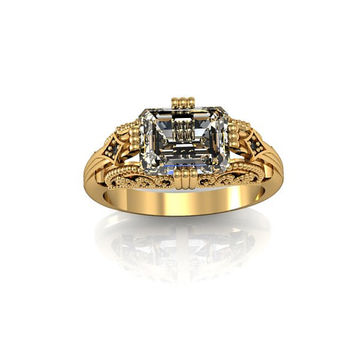 14k Yellow Gold Antique Vintage Style Emerald Cut White Topaz and Black Diamond Ring