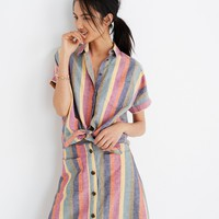 Short-Sleeve Tie-Front Shirt in Rainbow Stripe