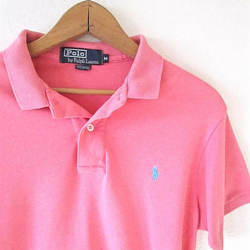 Vintage 90's POLO Ralph Lauren PINK Embroidered Polo Shirt Sz M