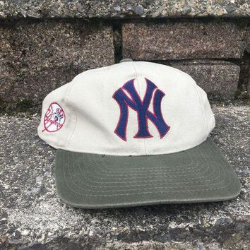 DCK4S2 Vintage New York Yankees Blockhead Snapback Cap Hat Vtg American Needle Sports