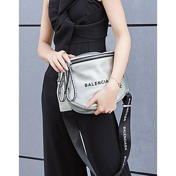 BALENCIAGA New Fashion Women Shopping Bag Leather Rivets Shoulder Bag Crossbody Satchel Silvery