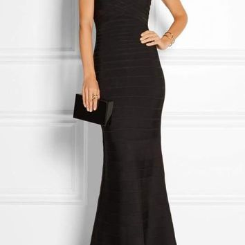 Black Strapless Bandage Gown