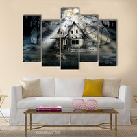 View Of Haunted House Multi Panel Canvas Wall Art
