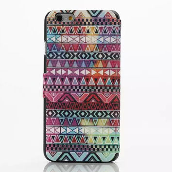 Ethnic Geometric Leather creative case Cover for iPhone 6S 6 Plus Samsung Galaxy S6