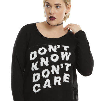 Don't Know Don't Care Destructed Girls Pullover Crop Sweater Plus Size
