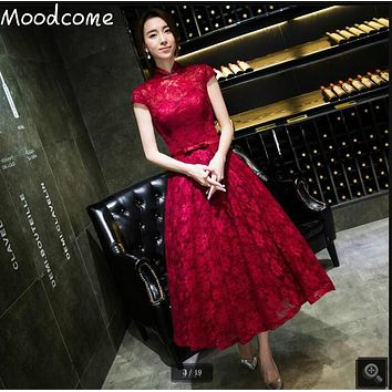 Vestido De Novia burgundy lace tea length prom dress modest cap sleeve with sashes high neck muslim women prom dresses 2017