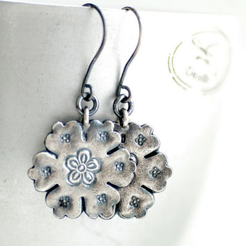 Silver Earrings, Made with Hill Tribe Silver, Flower Earrings, Blackened Earrings, Nature Jewelry, Woodland Jewelry, Sterling Silver