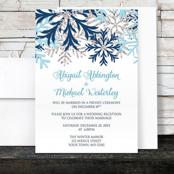 Winter Reception Only Invitations - Blue Silver Snowflake design on White - Post-Wedding Reception - Printed Invitations