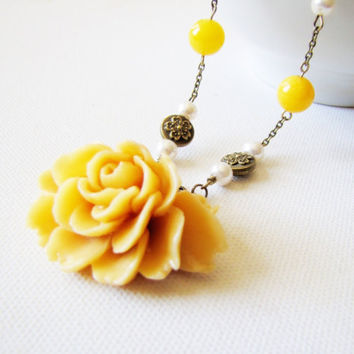 Spring Mustard Yellow Flower Necklace Shabby Chic Romantic Jewelry Victorian Necklace Yellow Flower Pendant Mustard Garden Wedding