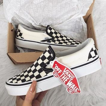 shosouvenir Vans Slip-On Old Skool Fashion Checkerboard Canvas S ef2779a39847