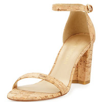 Stuart Weitzman Nearlynude Cork City Sandal, Natural