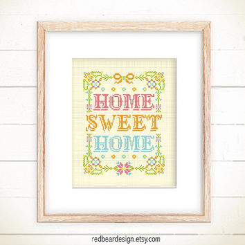 Home Sweet Cross stitch pattern PDF - Floral Home Sweet Home -Xstitch Instant download- Modern Funny Colorful Typographic House warming gift