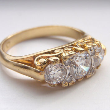 An Abundance of Beautiful Quality Diamonds and Lots of Solid 18K Gold. Victorian Style Engagement Ring or Wedding Ring Set.