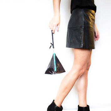 Reptile Pyramid Leather Clutch // Black Teal Triangle Wristlet // Valentine Day's // Wedding Bag // Bridesmaid