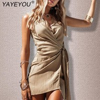 YAYEYOU Women Sleeveless Dress Sexy Solid V Neck Bodycon Midi Tight Wrap Party Dress Vestidos