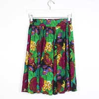 Vintage 90s Skirt Flowing Rayon Mini Skirt Elastic Waist 1990s  Soft Grunge Digital Floral Print Midi Skirt Boho S Small M Medium L Large