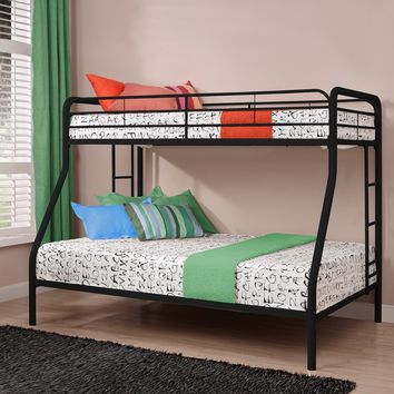 Twin over Full Size Bunk Bed in Sturdy Black Metal
