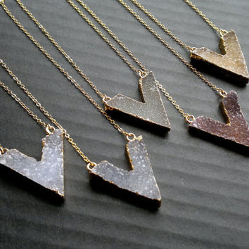 Druzy Necklace Druzy Chevron Necklace Gold Edged Druzy Natural Color Druzy Jewelry Stone Necklace Chevron Jewelry Gold Boho Jewelry Stone