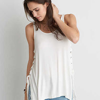 AEO Soft & Sexy Ribbed Side Tie Tank, White