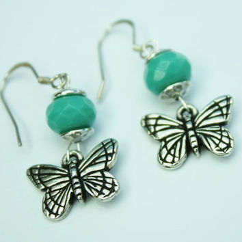 Turquoise Bead Earrings, Antique Silver, Dainty Butterflies, Holiday, Gift under 20.00, Fashion Jewelry, Aqua Accent