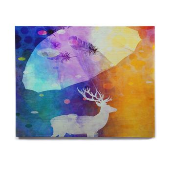 "alyZen Moonshadow ""Rain Deer"" Yellow Blue Birchwood Wall Art"