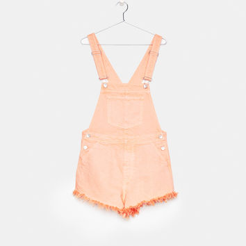 Frayed denim shortalls - Dresses - Bershka United States