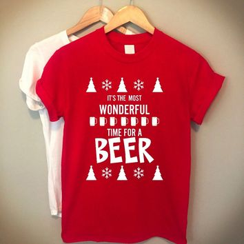 It is most wonderful time for beer t-shirt Christmas celebration Gift For family Drinking Shirt red party shirt aesthetic tees