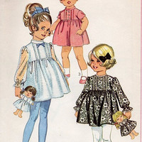 1960s Retro Toddler Girls Party Play Dress Bell Skirt Long Sleeves High Neck Holiday Dress Matching Doll with Doll Clothes Size 3