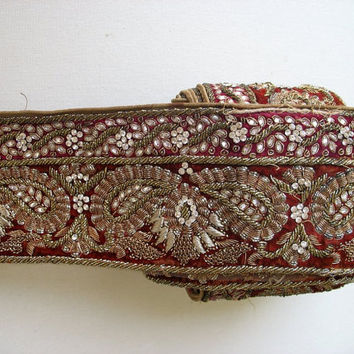 Paisley Embroidered Trim Vintage Sari Border, Bridal Trim,  Hand Embroidered With Stones and Crystal Work Sold by Yard